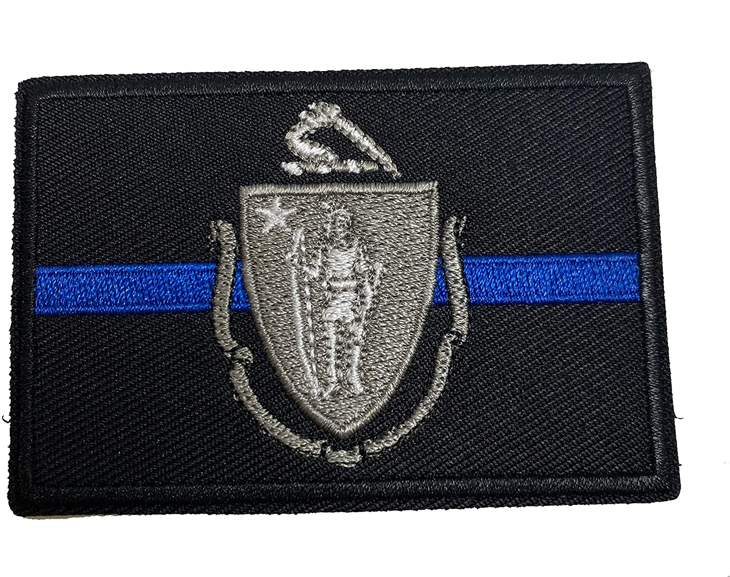 Subdued Thin Blue Line Massachusetts State Flag Patch