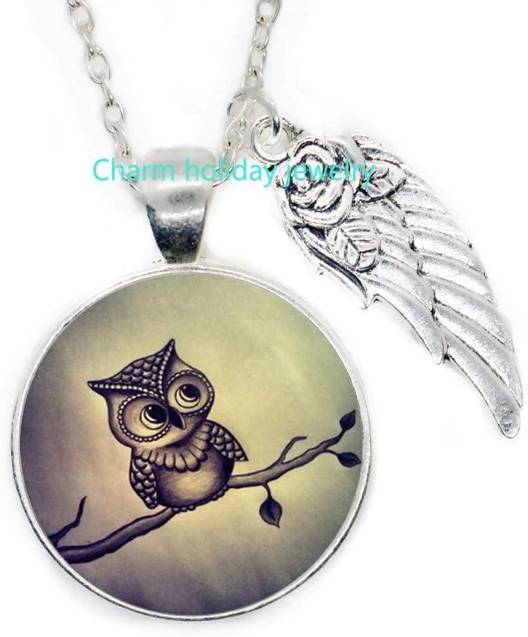 Cute Owl Pattern Round Glass Pendant Necklace Women Sweater Necklaces Jewelry-#65