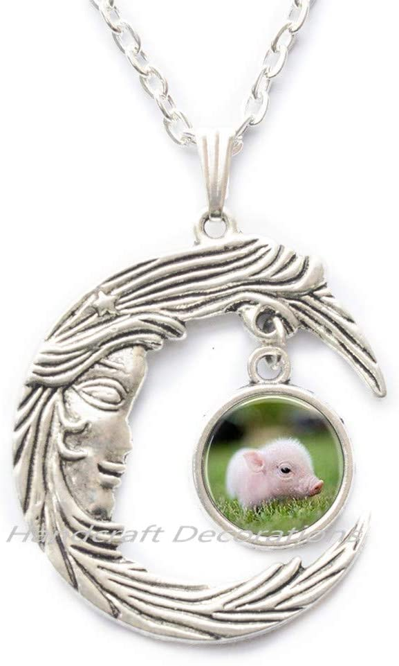 HandcraftDecorations Pig Necklace Pendant Pig,Peralized Pet Pig Jewelry,Farm Animal,Animal Lover Gift Pig Charm Farm Gift.F177