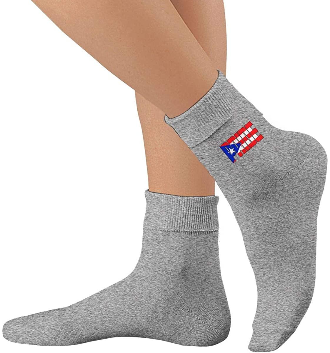 Rich Port City Puerto Rican Pride PR Flag Unisex Thin Cotton Lightly High Ankle Socks