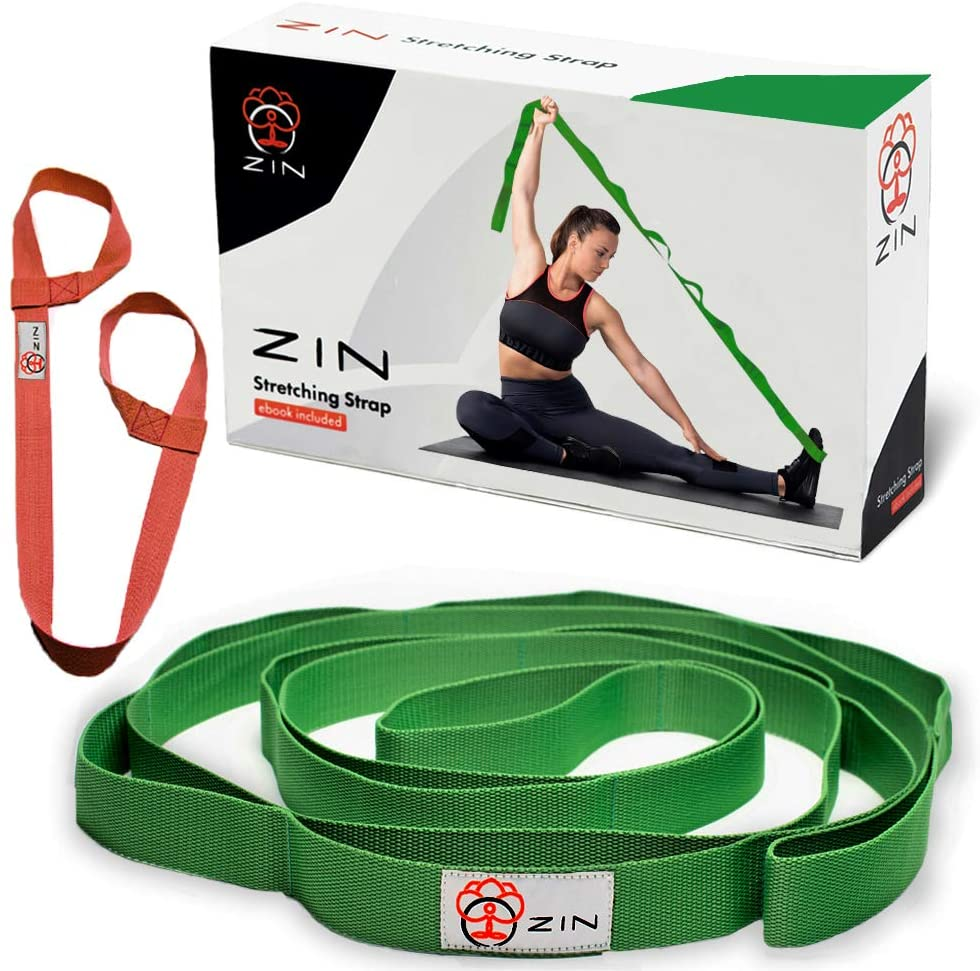 ZIN Stretching Strap Yoga with Loops for Stretch.Yoga Stretch Strap for Hamstring Stretcher, Exercise Yoga Strap for Stretching.Yoga mat Strap Included.