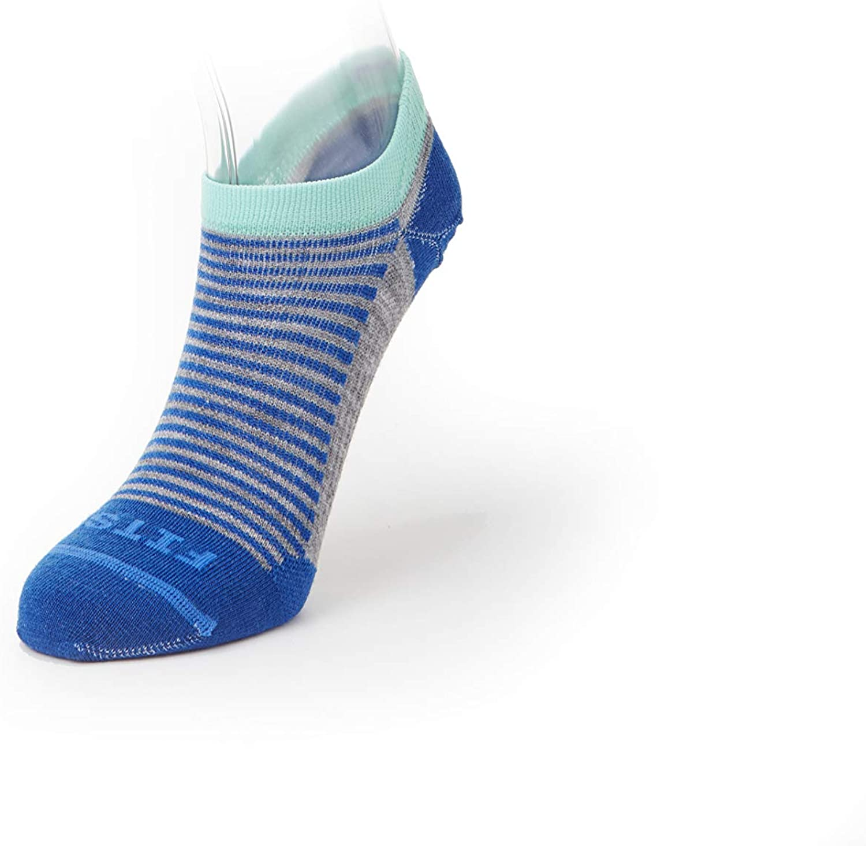 FITS Women's Ultra Light Runner Socks, Light Grey/Classic Blue, S