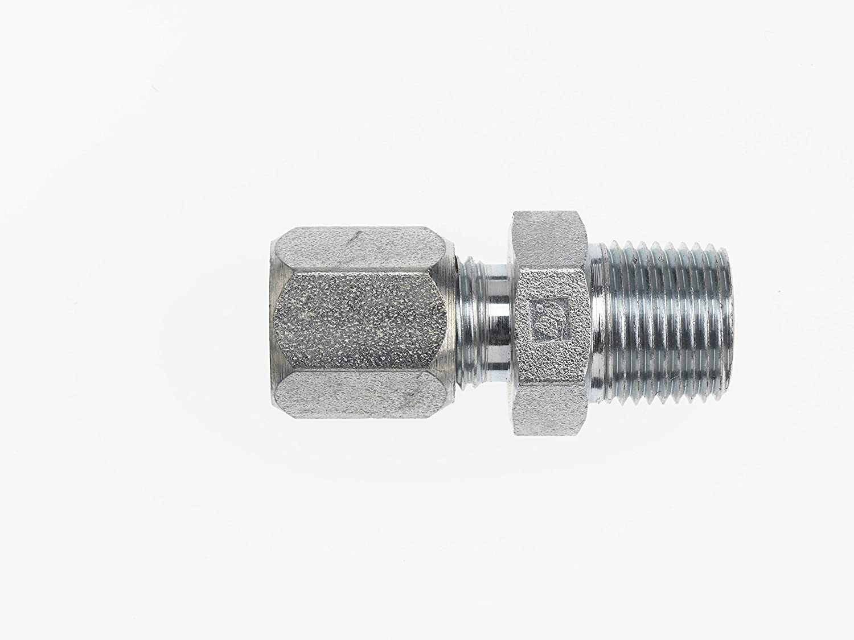 Brennan Industries C2404-16-16 Steel Straight Adapter Flareless Bite Type Fitting, 1 Bite Type Tube x 1-11-1/2 Male NPTF