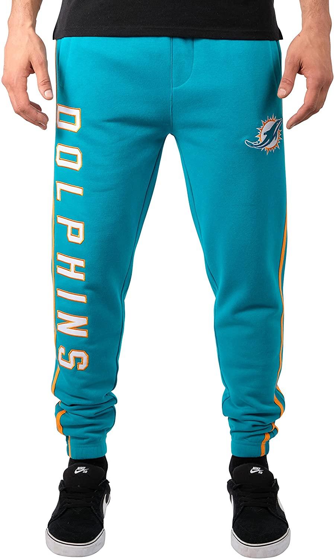 Ultra Game NFL Miami Dolphins Mens Jogger Pants Active Basic Fleece Sweatpants, Team Color Stripe, Medium