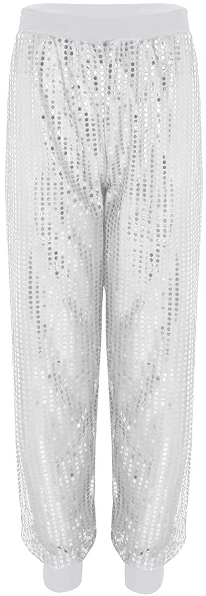 easyforever Women's Glitter Sequins Harem Hip Hop Dance Pants Baggy Hippie Trousers Casual Loose Wear