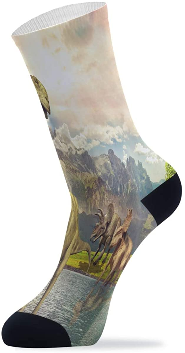 Amazing Dinosaur By The Lake Athletic Hiking Socks Novelty Funny Crew Socks for Mens Womens Unisex