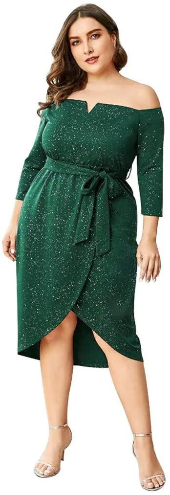 Daorokanduhp Plus Size Dress for Women Sexy Off Shoulder Short Sleeve 3/4 Sleeve Sequins Bandage Dress Skirts