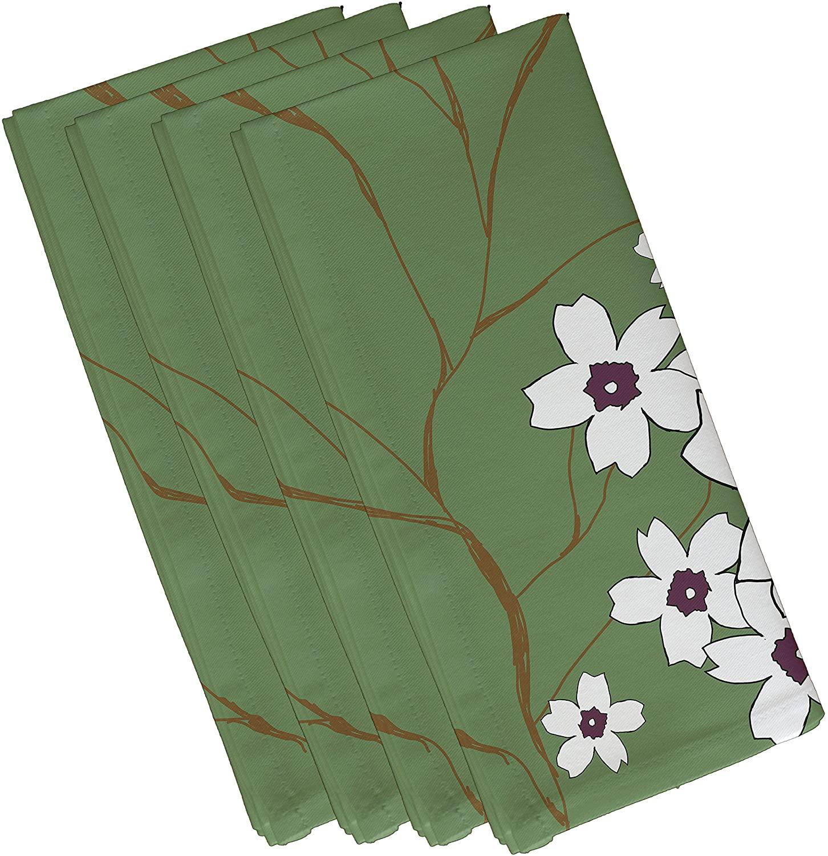 E by design Polyester Napkin, Floral, 19 x 19, Green/Purple