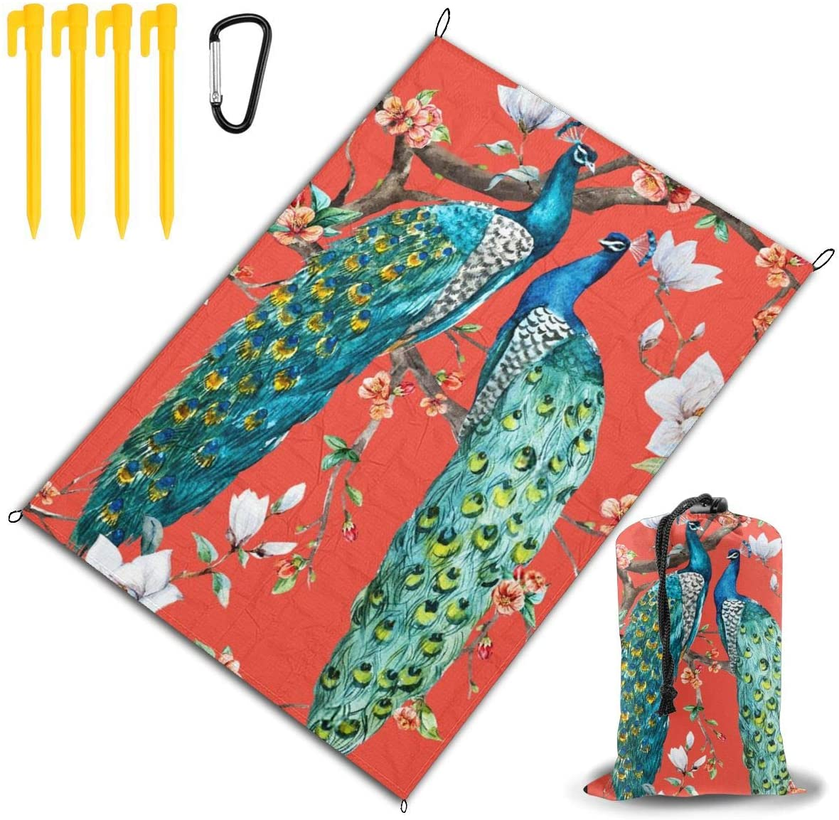 THONFIRE Beach Picnic Blanket Peacock Lover Blooming Cherry Waterproof Extra Large Outdoor Handy Mat Sand Proof Camping Travel Accessories Folding Family Tote On Lawn Outings Quick Dry Bag