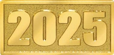 Crown Awards 2025 Chenille Pin, Gold 2025 Themed Award Pins Prime