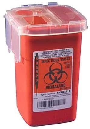Kendall Phlebotomy Sharps Containers 1 Qt Clear Lid -