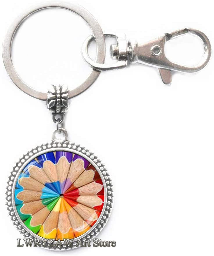 Coloring Pencil Keychain, Art Pencil Keychain, Gift for Artist Painter Art Teachers Art Student, Artistic Color Keychain,M192