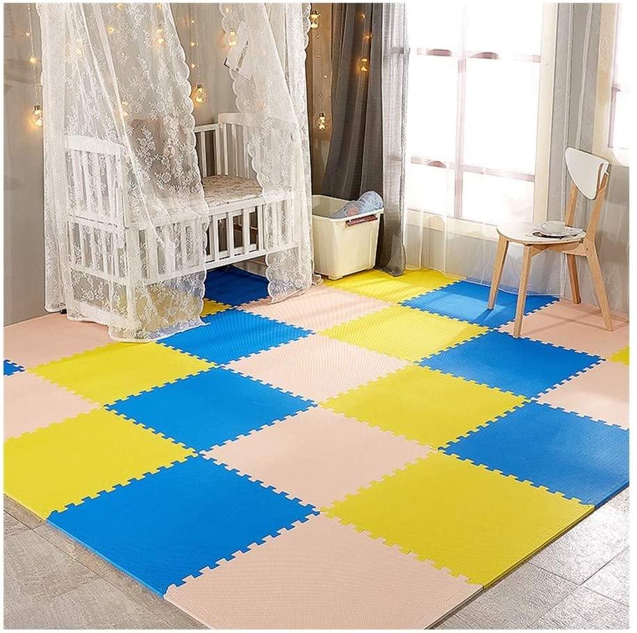 RUIRUIY Foam Puzzle Mat PE Interlocking Thickened Children's Room Yoga Dance Mat, 6 Colors, 3 Sizes (Color : B, Size : 60X60X1.2CM-6PCS)