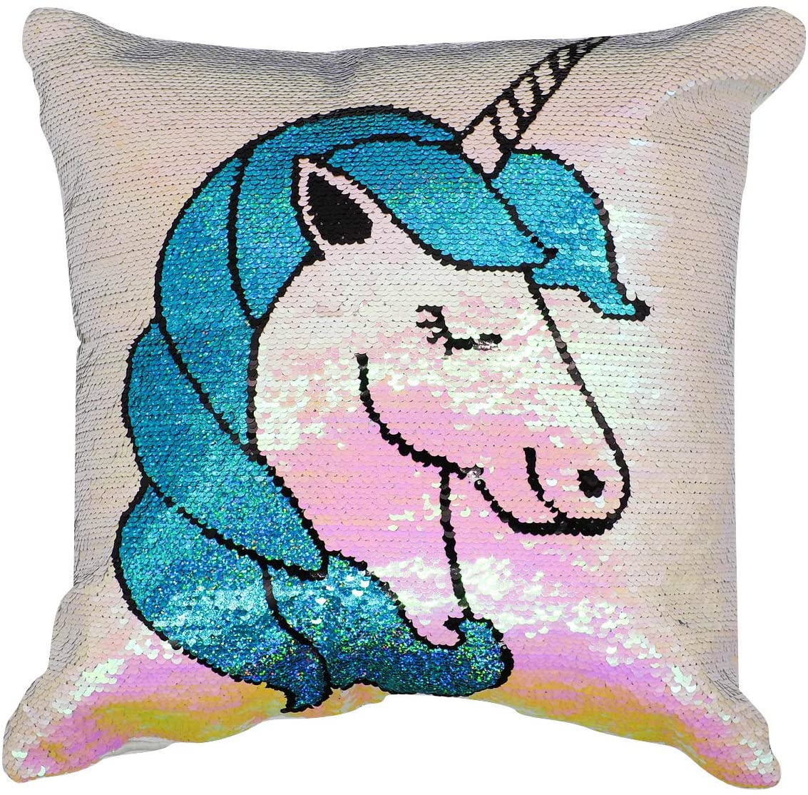 GiftKing Unicorns Pillow Case, Reversible Sequin Unicorn Cushion Cover - Pillowcase only 16