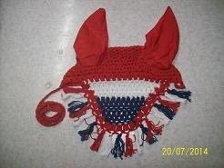 Avani Creations Ad Horse Ear Net Crochet Fly Veil Equestrian Fly Bonnet/Veil/mask Standard Size