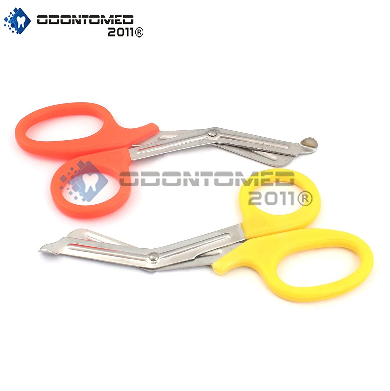 OdontoMed2011 New Premium Grade 2 PCS (Yellow & Orange) Paramedic Utility Bandage Trauma EMT EMS Shears Scissors 5.5 INCH Stainless Steel, Quality Shears