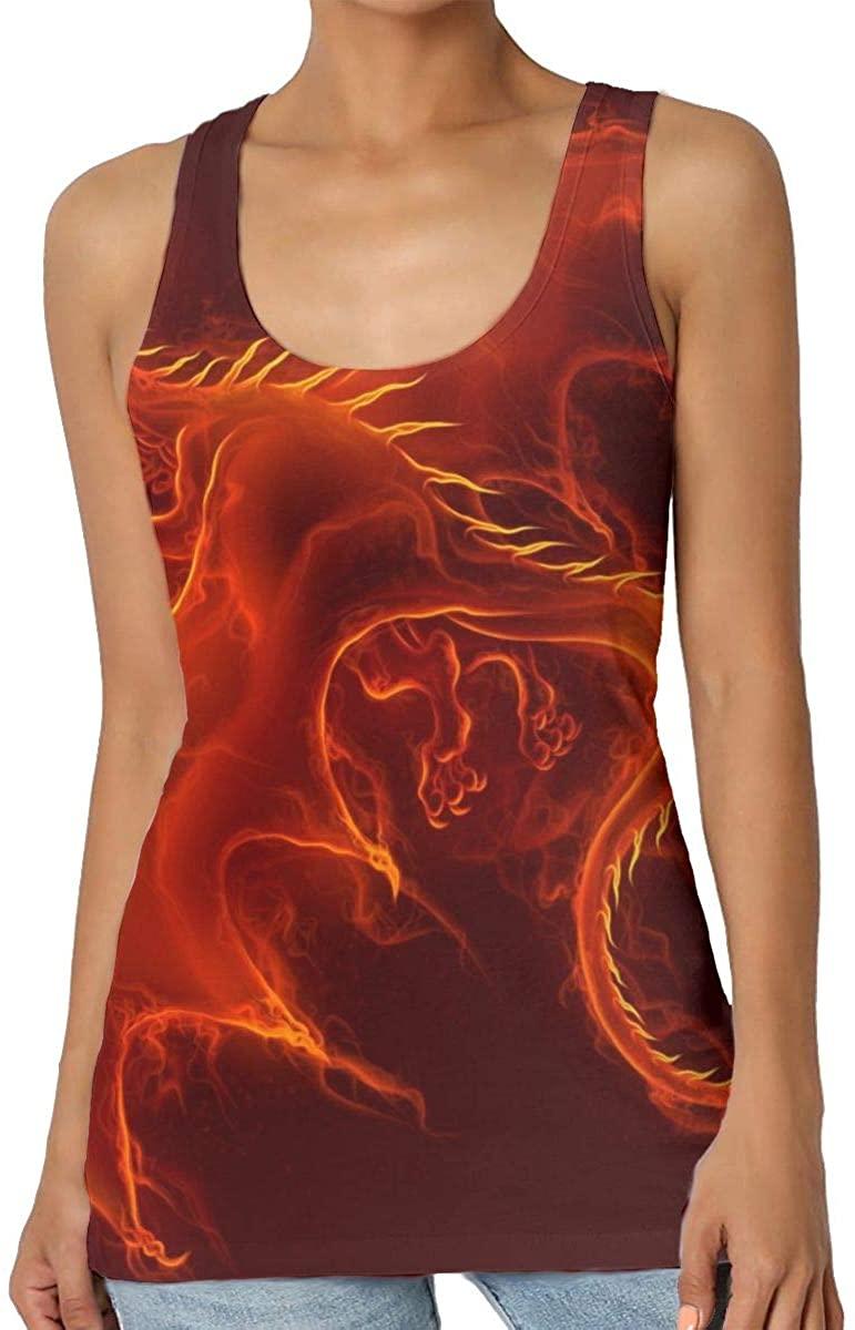 Womens Tank Top Flying Fire Dragon 3D Printed Sleeveless Racerback Vest Shirts