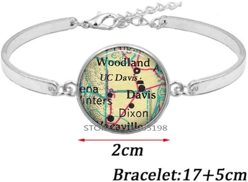 University of California at Davis Bracelet, UC Davis Aggies Bangle Graduation Gift Woodland Dixon CA College map Bracelet,N308