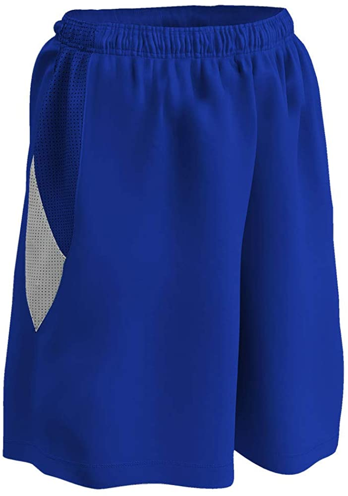 CHAMPRO Post Up Reversible Polyester Basketball Short, Girls' Small, Royal, White