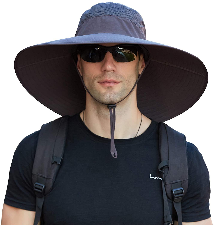 Pumkeril 15 cm Super Wide Brim Fishing Sun Hat Waterproof UPF50+ Safari Bucket Boonie Cap for Men Outdoor