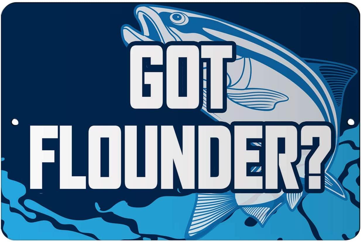 Makoroni - GOT FLOUNDER Fish 12x18 inc Aluminum Decorative Wall Street Sign