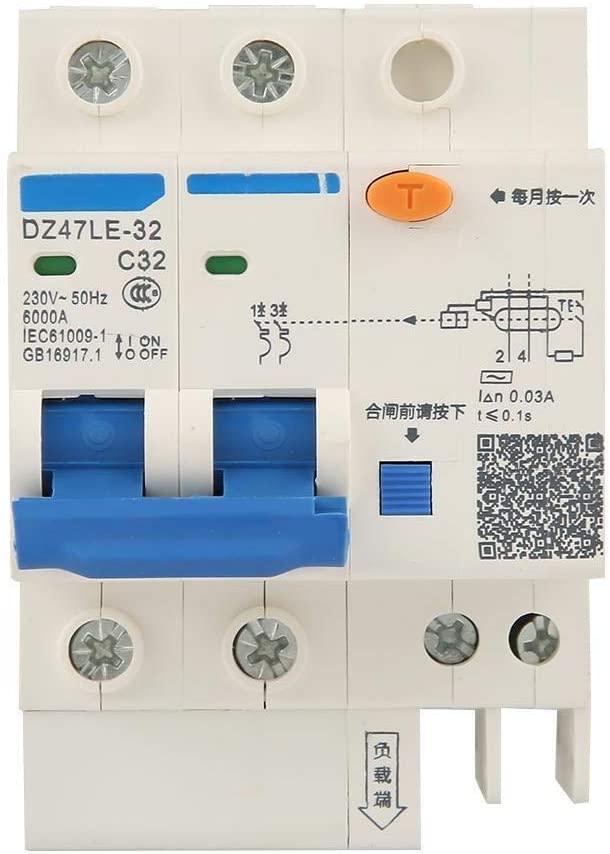 Maxmartt DZ47LE-32 2P+N C32 RCCB Residual Current Circuit Breaker 230V 32A 30mA