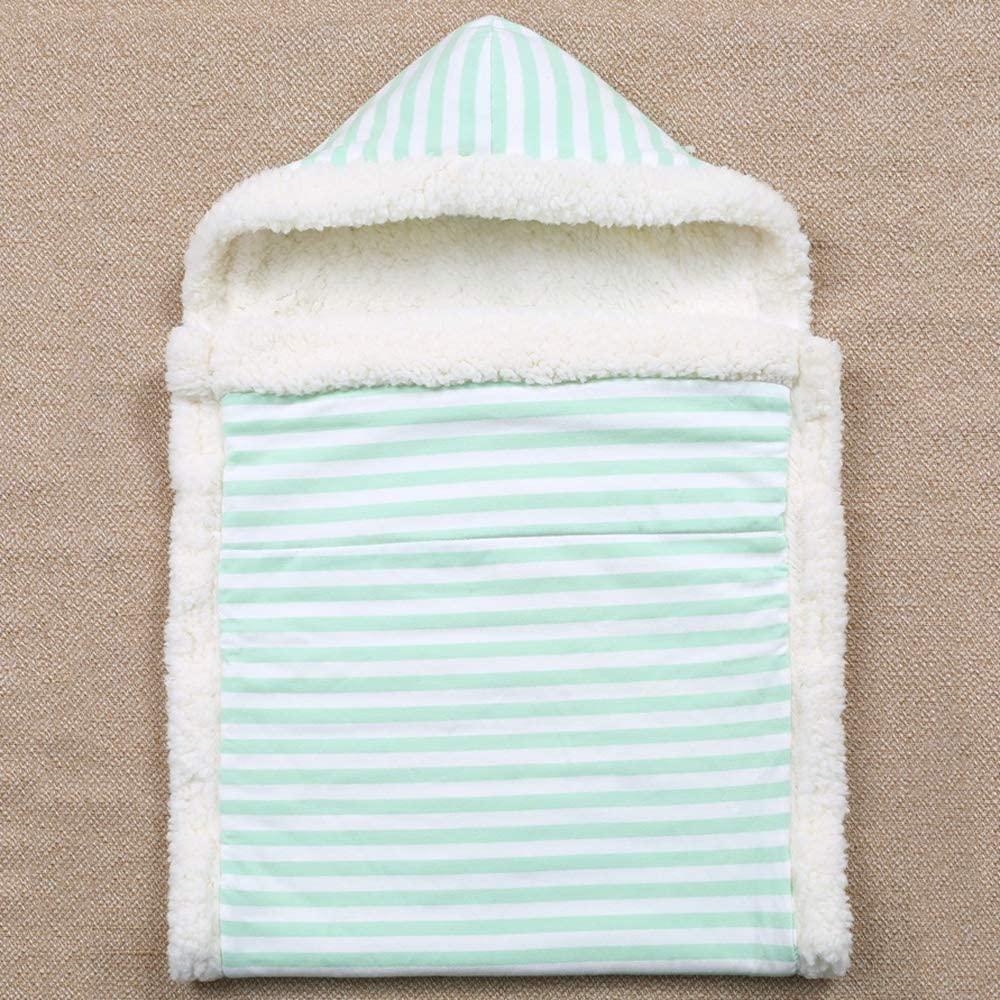 YXCM Stroller Sleeping Bag Thickened Warm Lamb Velvet Sleeping Bag for 0-6Months Baby Striped Anti - Kick Infant Sleepsack Blanket Soft Swaddle Quilt