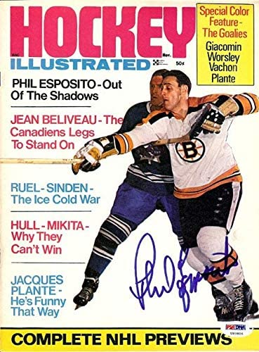 Phil Esposito Autographed Hockey Illustrated Magazine Cover Boston Bruins #U93806 - PSA/DNA Certified