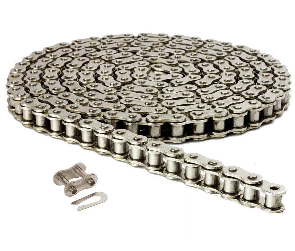 40NP Nickel Plated Roller Chain 10ft (240 Links) with 1 Master Link, Heat Treated, Corrosion Resistant, Eliminates Stress Cracking, unwanted wear, and Easy Corrosion