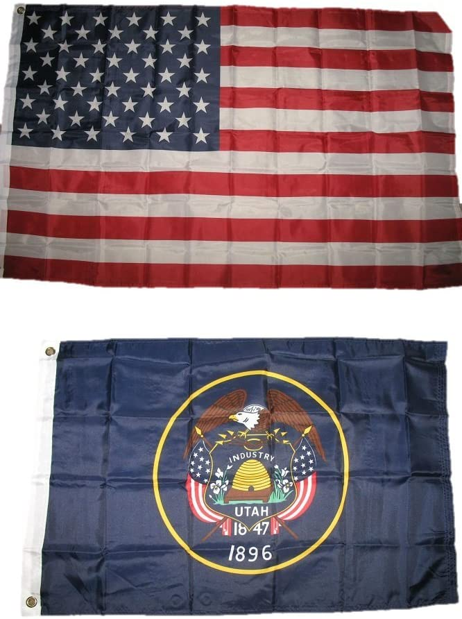 2x3 2'x3' Wholesale Lot Combo: USA American w/ State of Utah Flag