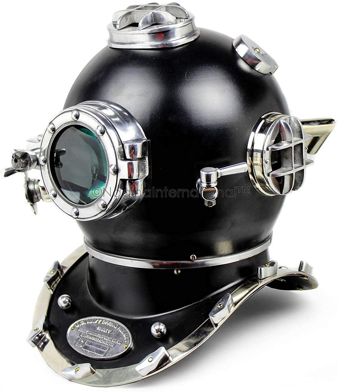 Shiv Shakti Trading 18 Scuba Diving Nautical Helmet   Maritime Ships Decorative Helmet   (Nickel Black)