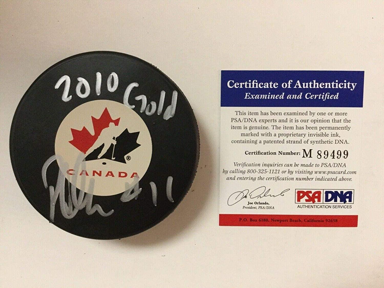 Patrick Marleau Autographed Puck - Team Canada COA a - PSA/DNA Certified - Autographed NHL Pucks