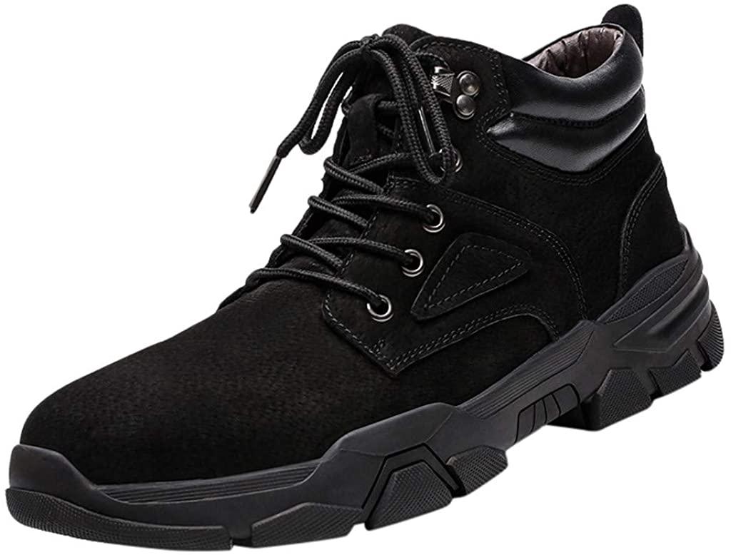 Gleamfut Mens Suede Tooling Boots Lace-up Climbing Shoes Outdoor Sport Non-Slip Wear Winter Sneakers