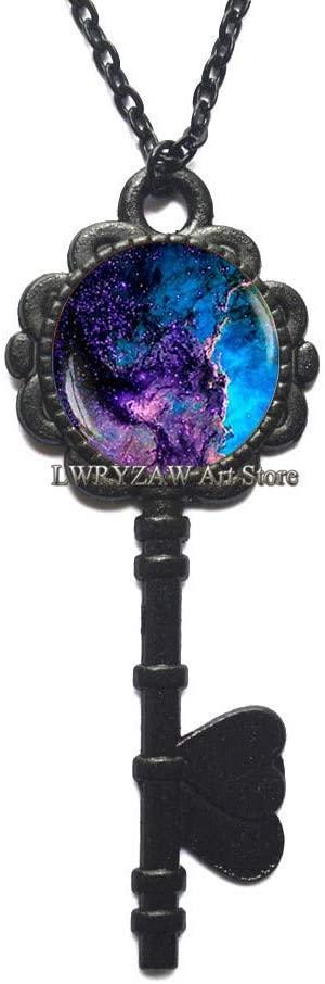 Blue Nebula Key Necklace, Galaxy Key Necklace, Universe Jewelry, Space Key Necklace, Blue Space Pendant, Underwater Jewelry, Deep Blue Key Necklace,M40