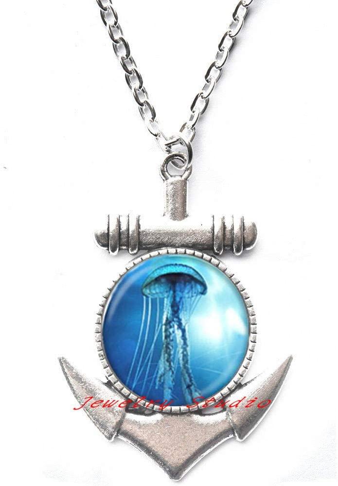 Jellyfish Anchor Necklace Jellyfish Charm Anchor Necklace - Beach Anchor Necklace - Ocean Jewelry - Sea Life Charm Jewelry - Nautical Anchor Necklace-HZ0010