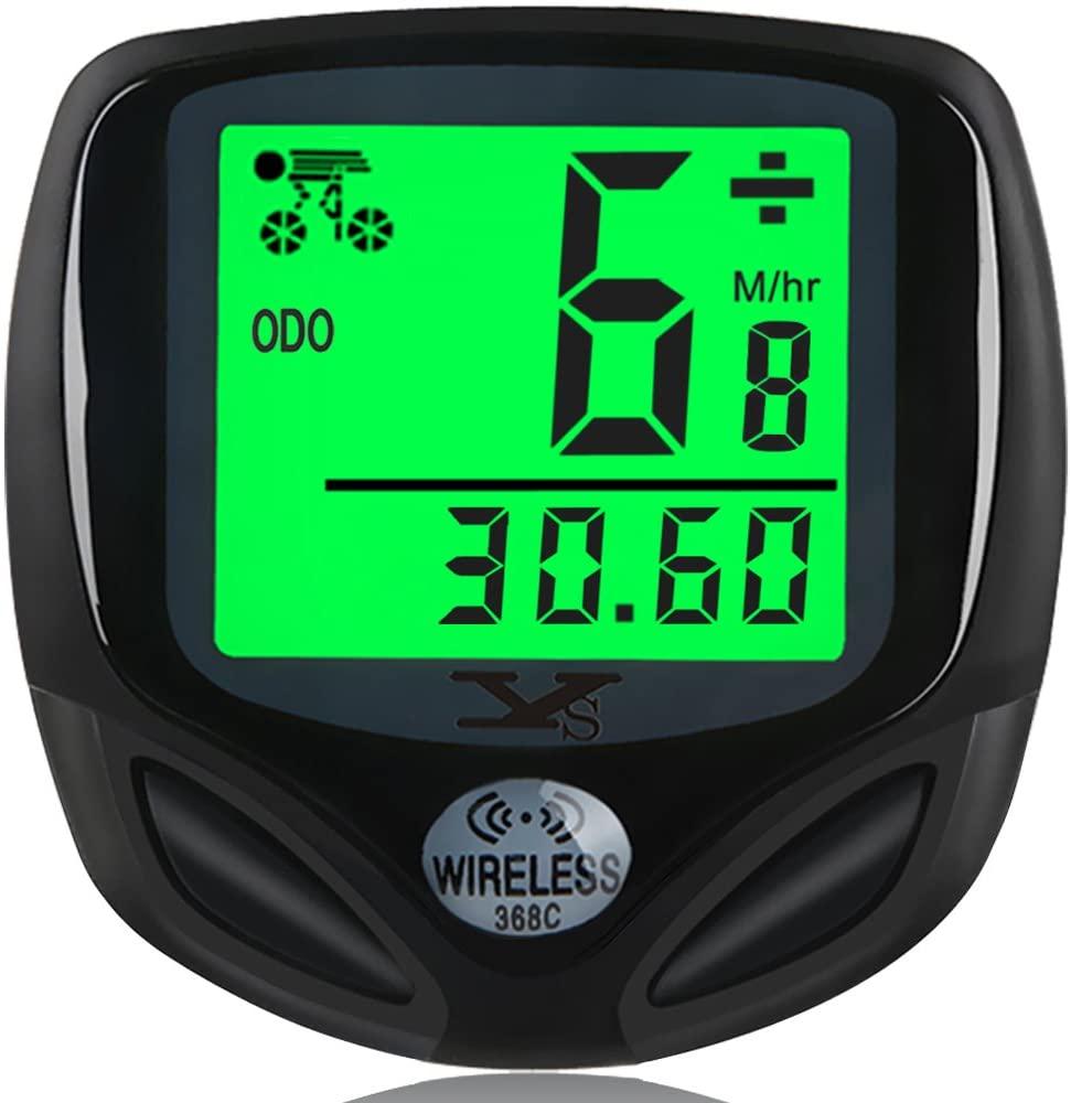 DINOKA Bike Speedometer Waterproof Wireless Bicycle Bike Computer and Cycling Odometer with Automatic Wake-up Multi-Function LCD Backlight Display (W-368)