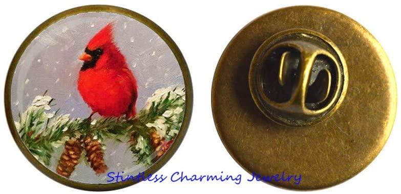 Cardinal Art Glass Pin Brooch Red Bird Jewelry Cardinal Charm Handmade Glass Photo Art Brooch-JV133