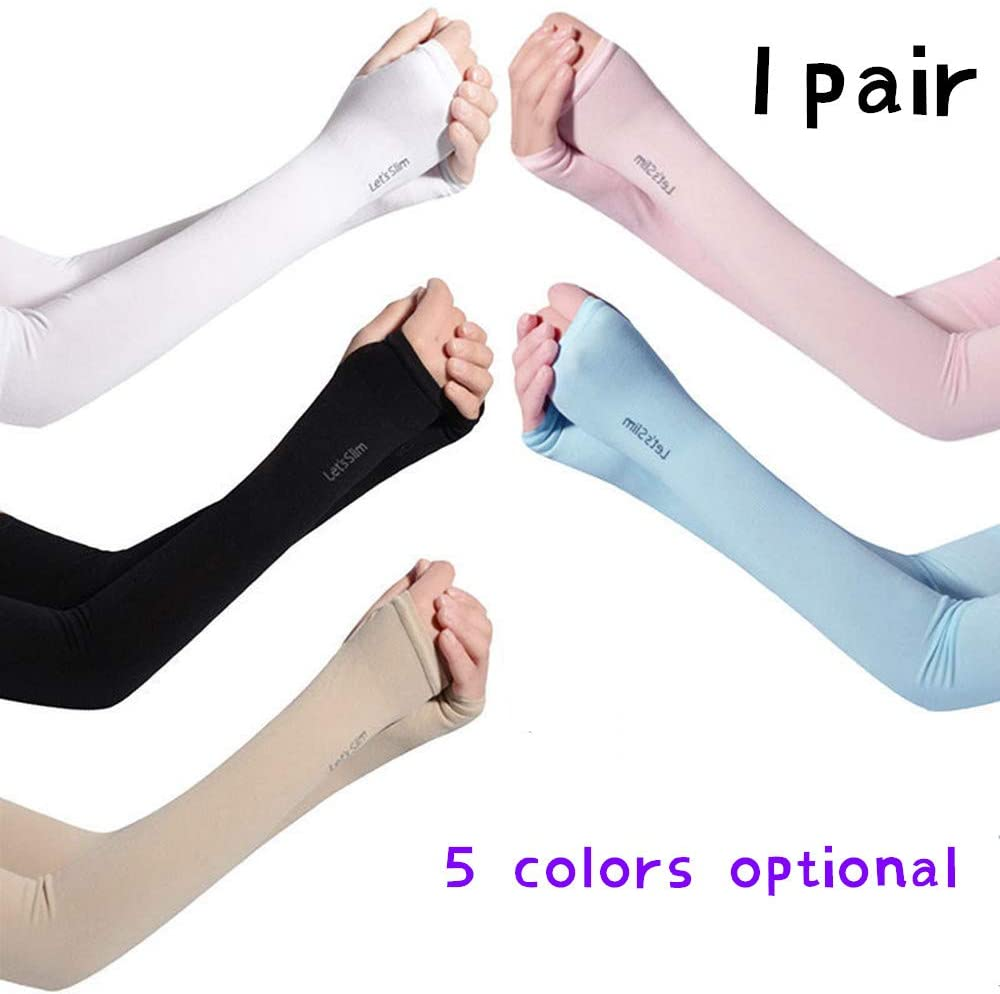 RJHJ 1 Pair of UV Protection, Sunscreen ice Silk Sleeves, Suitable for: Cycling, Outdoor, Golf, Shopping, Running Fitness. Five Colors are Available.
