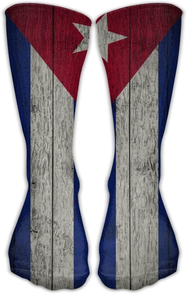 Pin-1 Retro Cuban Flag Athletic Socks Novelty Running Long Sock Cotton Socks