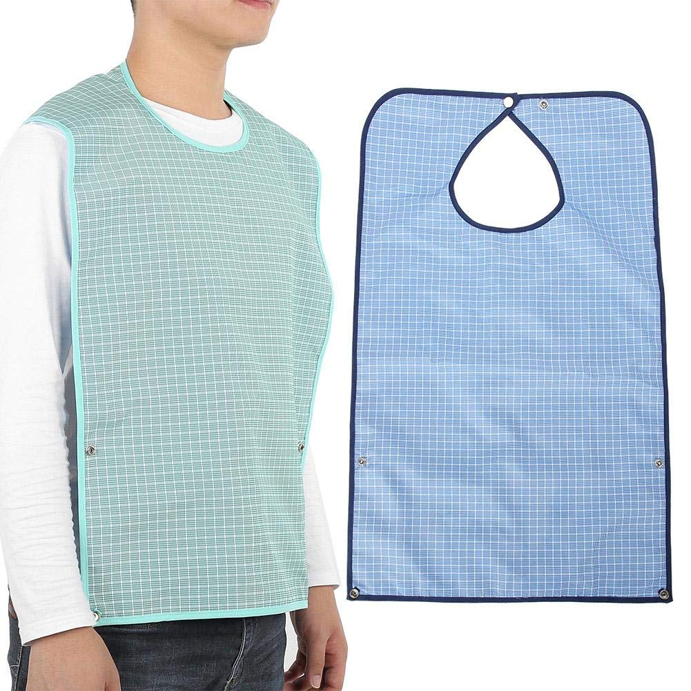 Adult bib, adult bib water-repellent with crumb compartment and snap fastener waterproof Adult The Elderly bib washable Mealtime bib Elderly Disabled Aid Apron