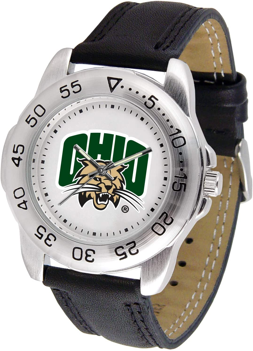 NCAA Ohio Bobcats Bold Logo Sport Leather Watch -