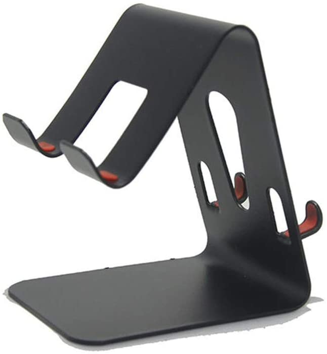 Afazfa Universal Aluminum Phone Desk Table Desktop Stand Holder for Cell Phone (Black)