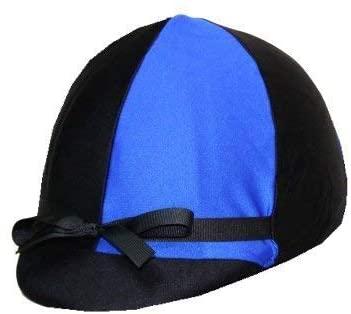 Equestrian Riding Helmet Cover - Royal Blue and Black