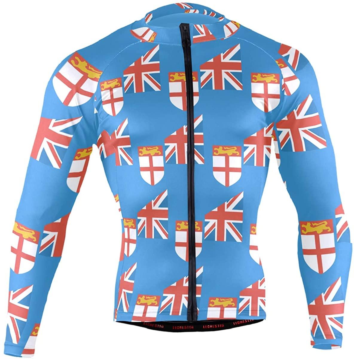 Fiji Flag Men's Long Sleeve Cycling Jersey Bicycle Jacket Pockets Full Zipper Bike Biking Shirts