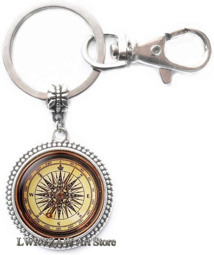 Compass Key Ring, Antique Compass, Antique Nautical Compass, Compass Key Ring, Compass Keychain,Simple Keychain,Handmade Keychain,M296