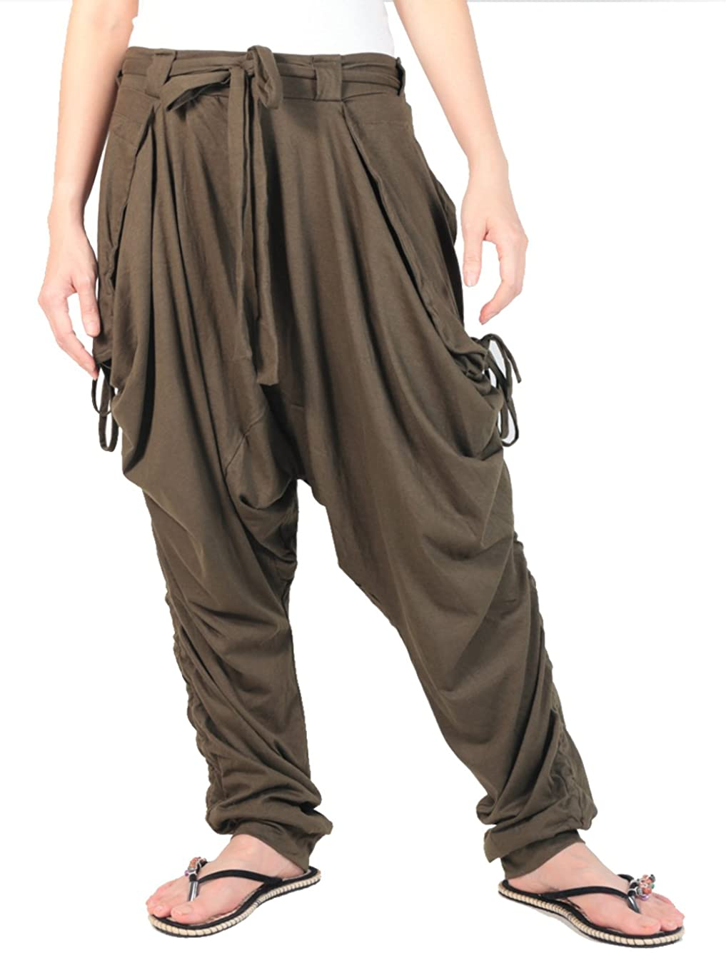 Smileclothing Unisex Jersey Pants, Yoga Pants, Harem Pants, Casual Pants Dark Green, Large Size (ch18-GR)