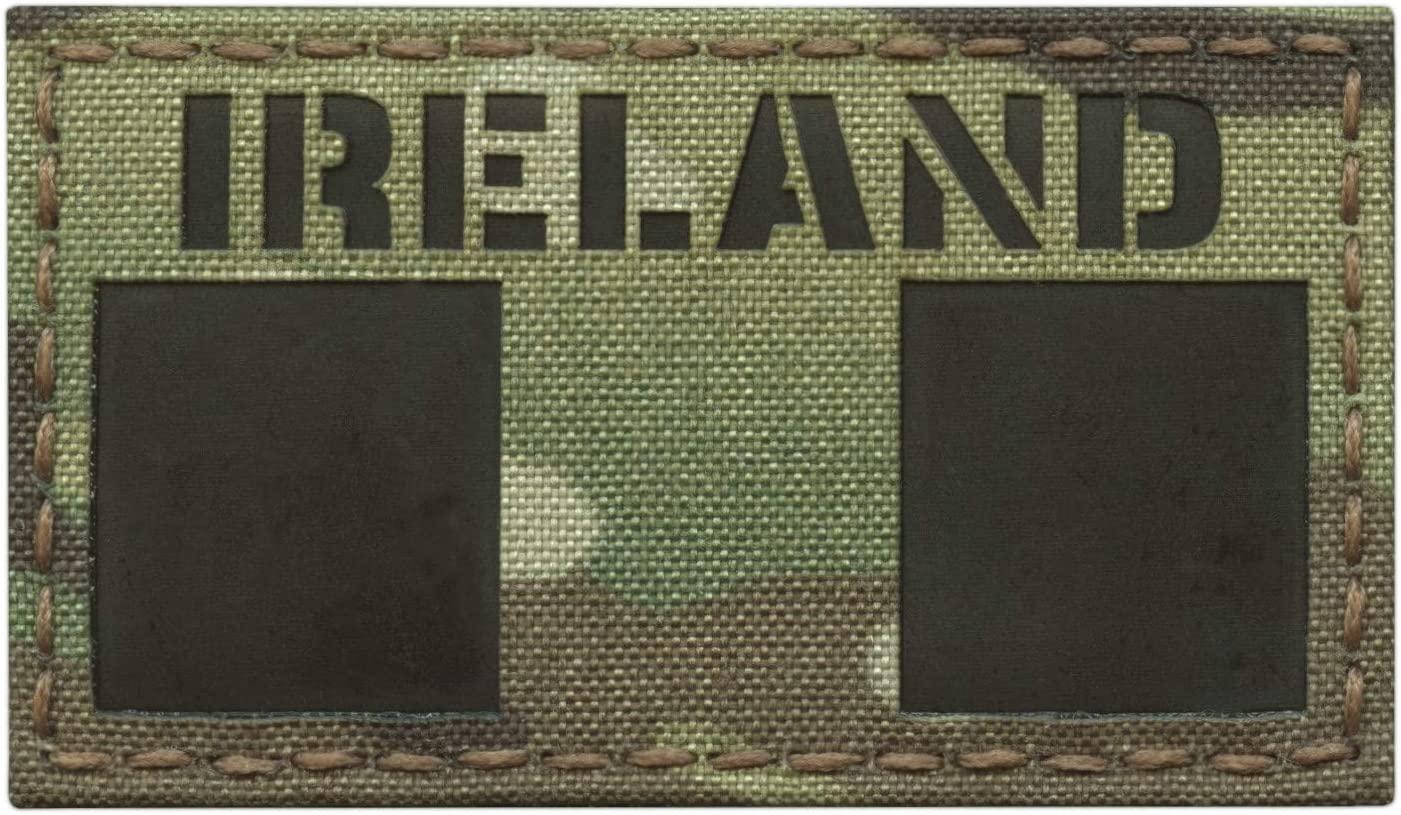 IR Multicam Ireland Flag Irish Tricolour 2x3.5 IFF Tactical Morale Touch Fastener Patch