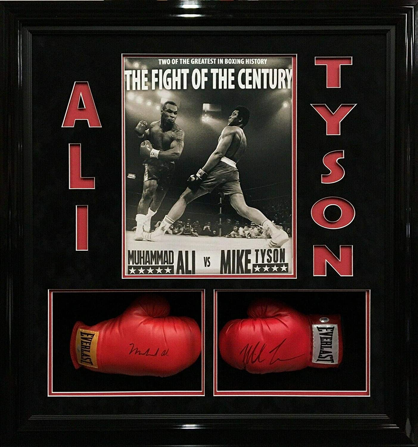 Muhammad Ali Mike Tyson Signed/Framed Gloves 'Fight Of The Century' Steiner - PSA/DNA Certified - Autographed Boxing Gloves