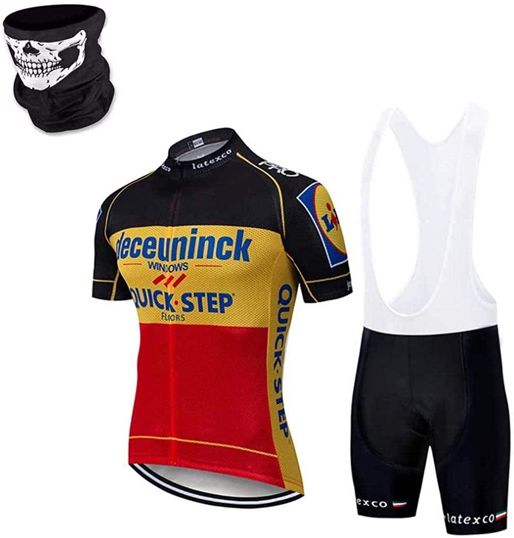 DIMPLEYA Men's Cycling Jerseys Short Sleeve Bike Suit 24D Gel Padded Bib Shorts Black