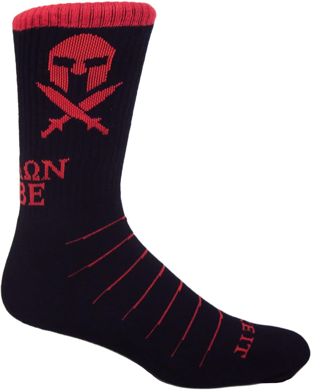 MOXY Socks Black and Red Molon Labe Spartan Performance Crew Socks